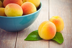 Fresh peaches on wooden table Royalty Free Stock Image