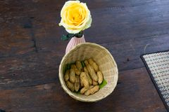 Fresh peanut to boil. On table wood royalty free stock photos