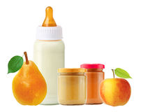Fresh pear, apple, baby food and and milk bottle isolated Stock Photos