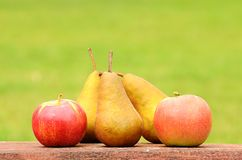 Fresh pear and apple after harvest. On wooden desk Royalty Free Stock Photography