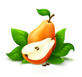 Fresh pear with cut stock illustration