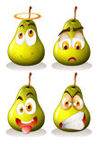 Fresh pear with facial expressions Royalty Free Stock Photo