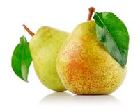 Fresh pear fruits with green leaf Royalty Free Stock Photo