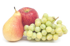 Fresh pear grape and apple isolated. Stock Photos