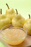 Fresh pear jam. Pear preserve,pear conserve and pears Royalty Free Stock Photography
