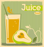 Fresh pear juice on old paper.Vector vintage card background Stock Images