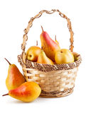 Fresh pear in wicker basket Royalty Free Stock Photo
