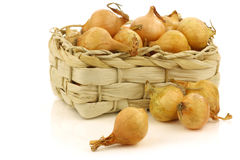 Fresh pearl onions in a woven basket Stock Photography