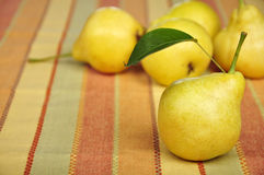 Fresh pears. Rip fresh pears on colorful tablecloth Stock Photos