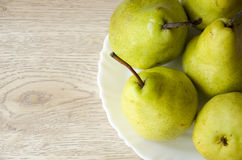 Fresh pears. White bowl with fresh pears Royalty Free Stock Photo