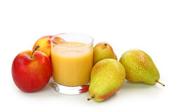 Fresh Pears, Apple And Juice Royalty Free Stock Photos