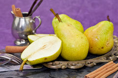 Fresh pears and cinnamon Royalty Free Stock Images
