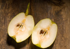 Fresh pears  cutted  in half Stock Photo