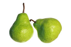 Fresh pears isolated on white background. Fresh green pears isolated on white background royalty free stock images