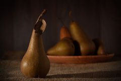 Fresh pears on sackcloth background Royalty Free Stock Photos