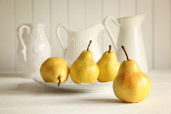 Fresh pears on wooden table Royalty Free Stock Photography