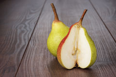 Fresh pears on wooden table Royalty Free Stock Images