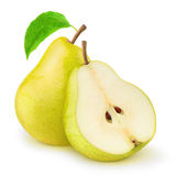Fresh pears. Fresh yellow pears over white background Royalty Free Stock Photography