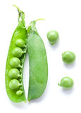 Fresh peas are contained within a pod. Stock Photography