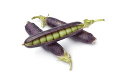 Fresh peas in purple pod Royalty Free Stock Photos