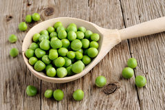 Fresh peas in spoon Royalty Free Stock Photography