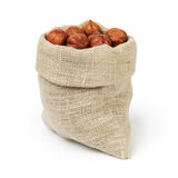Fresh peeled hazelnuts in sack bag isolated Stock Image