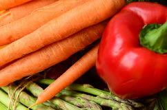 Fresh pepper, bunch of asparagus and carrots Stock Photography