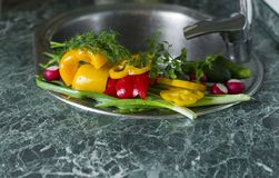 Washed fresh vegetables lie on the kitchen sink Stock Photo