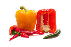 Fresh pepper and cutting paprika isolated on a white background Stock Photography