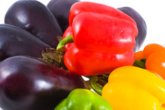 Fresh pepper and eggplants. Raw Fresh pepper and eggplants Royalty Free Stock Photography