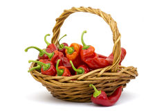 Fresh peppers in a basket Stock Images