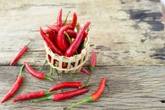 Fresh peppers in a basket on wood Stock Photo