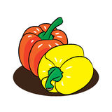 Fresh peppers cartoon .Vectors Royalty Free Stock Image