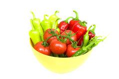 Fresh peppers and tomatoes Stock Photos