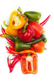 Fresh peppers on white backround. Fresh yellow, red and green pepper isolated on a white background Stock Photos