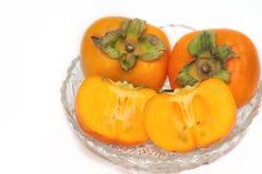 Fresh Persimmon fruit slice isolate Royalty Free Stock Photo