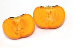 Fresh Persimmon fruit slice  isolate Royalty Free Stock Images
