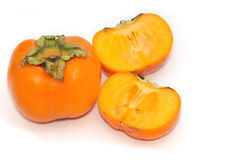 Fresh Persimmon fruit slice  isolate Royalty Free Stock Photography