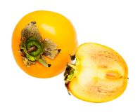 Fresh persimmon isolated. The fresh persimmon isolated on a white stock photos