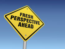 Fresh perspective ahead road sign Stock Photos
