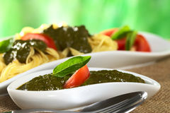 Fresh Pesto. Made of basil and garlic garnished with fresh basil leaf and tomato slice (Selective Focus, Focus on the basil leaf Stock Photos