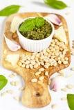 Fresh pesto with basil Stock Photography