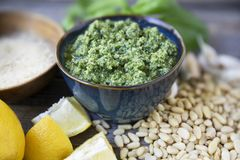 Fresh Pesto and Ingredients Royalty Free Stock Photography