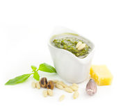 Fresh Pesto and its ingredients Stock Photos