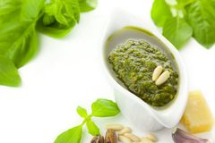 Fresh Pesto and its ingredients Royalty Free Stock Photo