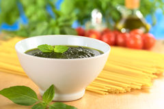 Fresh Pesto Made of Basil Stock Images