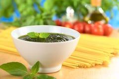 Fresh Pesto Made of Basil Stock Images