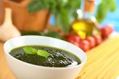 Fresh Pesto Made of Basil Stock Image