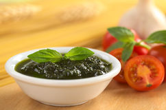 Fresh Pesto Made of Basil Royalty Free Stock Photography