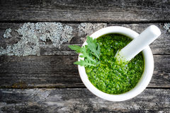 Fresh pesto of rucola Stock Image